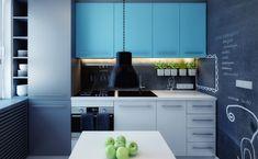 peinture murale tableau noir, armoires en bleu clair et gris anthracite dans la cuisine