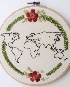 Great to track the places you've been to Diy Embroidery Patterns, Hand Embroidery Videos, Creative Embroidery, Hand Embroidery Patterns, Cross Stitching, Cross Stitch Embroidery, Needlework, Creations, Couture