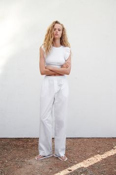 RUFFLED TOP | ZARA United States Zara United States, Ruffle Top, Crop Tops, Pants, Clothes, Fashion, Trouser Pants, Outfits, Moda