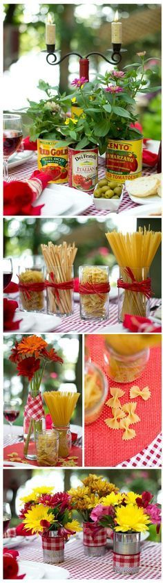 Budget Centerpiece Ideas for an Italian Dinner Theme You can use these for any party, not just a wedding rehearsal dinner. The post Budget Centerpiece Ideas for an Italian Dinner Theme appeared first on Wedding. Trattoria Italiana, Italian Themed Parties, Themed Dinner Parties, Italian Night, Italian Lunch, Spaghetti Dinner, Dinner Themes, Dinner Ideas, Ideas For Rehearsal Dinner