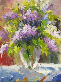 Smell of a Lilac 18 x 24 Original Oil Painting Palette Knife Colorful Purple White Green Flowers Lilac Vase Bouquet Arangement by Marchella. $169.50, via Etsy.