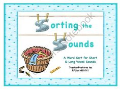 """Sorting the Sounds: Word Work for Short and Long Vowel Sounds from Teacher Features on TeachersNotebook.com -  (34 pages)  - A fun way for your students to sort the """"clothes"""" and practice sounds at the same time! This activity has 5 Word Sorts (15 cards in each, 34 pages total).  Includes:  Long O / Short o  Long A / Short a  Long E / Short e  Long I / Short i  Long U"""