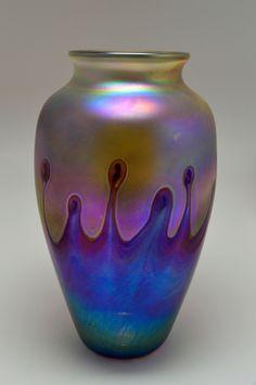 Large Amazing ART Deco Style Iridescent Glass Studio Vase | eBay