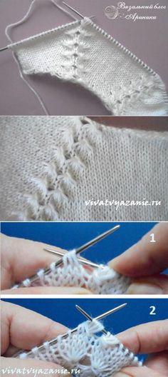 "Как вязать реглан сверху - подробный мастер-класс ""Como tejer el raglán de arriba - la clase maestra detallada \""How to knit a roglan jacket from the top w Knitting Stiches, Baby Knitting Patterns, Lace Knitting, Knitting Designs, Knitting Projects, Crochet Stitches, Stitch Patterns, Crochet Patterns, Crochet Baby"