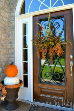 fall ideas for the front of your house | enjoying my new Fall front porch and door. How is your Fall ...
