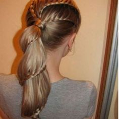 three waterfall braids, then put in hair elastic to hold pony. Go over with  hair, then make one waterfall braid in the pony. Little complicated. <3