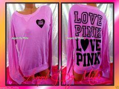❤️This week's 99 Cent #VSPINK #Auctions❤️Victoria's Secret PINK M NEON PURPLE Campus Heart SIGNATURE Crew Sweat shirt NEW