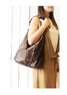BROWN SAC 1 Large brown Handmade Italian Leather Tote Bag di LaSellerieLimited su Etsy
