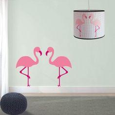 Flamingo muurstickers lamp set