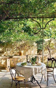 Covered terrace, al fresco dining in Provence- Covered terrace, al fresco dining in Provence garden inspiration rustic garden inspiration terraces Outdoor Rooms, Outdoor Dining, Outdoor Gardens, Outdoor Decor, Outdoor Patios, Outdoor Kitchens, Dream Garden, Home And Garden, Gazebos
