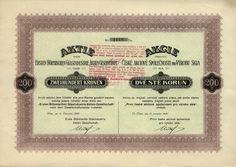 """První česká akciová společnost pro výrobu skla (Erste Böhmische Glasindustrie Aktien- Gesellschaft). Akcie na 200 Kč. Vídeň, 1920. Sklárny v Oloví u Sokolova, uhelné doly ve Starém Sedle (šachta """"Michael"""") a Litrbachách (šachta """"Friedrich"""")"""