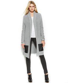 MICHAEL Michael Kors Long Cardigan, Side-Zip Top & Faux-Leather-Panel Pants - Women - Macy's
