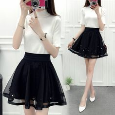 "Black tall waist tutu skirt SE10043""Coupon code ""Fatma""for 10% off"""