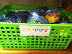Store math manipulative in Tupperware, students can grab a tub and use them at their desk. Do this for base 10 blocks, counters and money. <--such a good idea! Preschool Math, Kindergarten Classroom, Fun Math, Teaching Math, Math Activities, Teaching Ideas, Math Games, Teaching Resources, Classroom Organisation