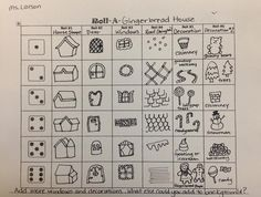 Roll a Dice and create a drawing of a Gingerbread House! Made by me:) -Laura Larson Elementary art lesson for winter and  Christmas, Holiday Art for Kids!