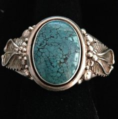 EXTRAORDINARY Old Pawn Sterling Bracelet with Large Spiderweb Turquoise Stone