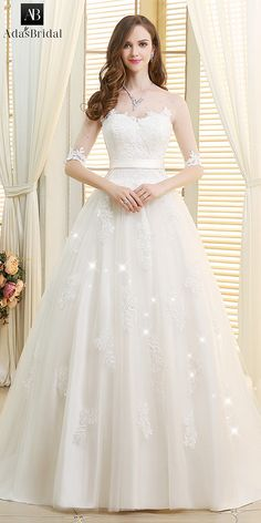 Stunning Tulle Scoop Neckline Ball Gown Wedding Dresses With Lace Appliques