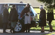 Catherine, Duchess of Cambridge along with the Queen arriving for Christmas Day Church services. December 25, 2013.