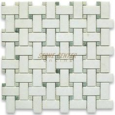 Thassos White 1x2 Basketweave Mosaic Tile w/ Green Dots Honed - Marble from Greece - Mosaics - Thassos White