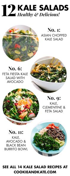 Favorite Kale Salads (plus tips Find 12 healthy, hearty kale salad recipes at !Find 12 healthy, hearty kale salad recipes at ! Quinoa Salad Recipes, Kale Recipes, Healthy Recipes, Healthy Salads, Vegetarian Recipes, Healthy Eating, Cooking Recipes, Kale Salads, Vegetarian Salad
