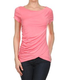 Look at this One Fashion Pink Ruched-Side Wrap Top on #zulily today!