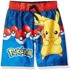 7320220b94 Keep him geared up for fun a the pool with these boys' Pokemon Pikachu swim  shorts. In blue.