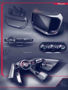 Fiat Toro - Interior Design Sketch Renders Board by Juliano Villas Boas