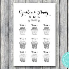 Stylish Wedding Seating Chart Template Printable Wd09