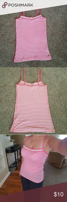 Final Price! Hollister Tank Top Pink and white stripes with crochet trim. Good condition with very minimal pilling. Hollister Tops Tank Tops