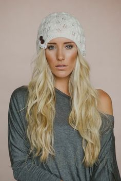 Ivory Laced Beanie Slouch Hats 05641b28c2d0