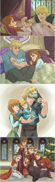Awwww  Anna, Kristoff and their kids (+Elsa)