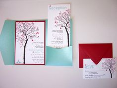 Wedding Invitation DIY Pocketfold Heart Tree by ticklemeink, $60.00 -something like this but with vietnamese part too