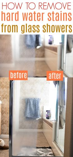 Learning How to Remove Hard Water Stains from Glass Shower Doors is possible! A few simple steps, tools and a whole lots of elbow grease is all it takes to get your glass shower doors looking like new in no time! Deep Cleaning Tips, House Cleaning Tips, Diy Cleaning Products, Cleaning Solutions, Spring Cleaning, Cleaning Hacks, Cleaning Items, Homemade Toilet Cleaner, Gadgets