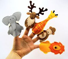 Animal felt finger puppets felt theater
