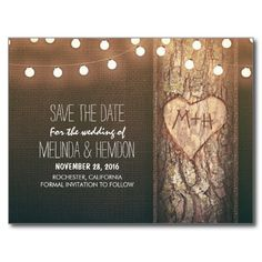 String lights carved heart rustic save the date post cards