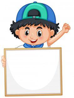 Blank sign template with cute boy on whi... | Free Vector #Freepik #freevector #frame Cute Panda Cartoon, Cartoon Kids, Cartoon Smile, Kids Art Class, Art For Kids, Student Cartoon, Teachers Day Card, Character Template, Girl Reading Book