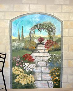 Garden mural on a #cement block wall  Colorful flower garden mural with terrace