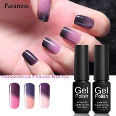 Paraness Brand Mood Temperature Changing Color Nail Gel 7ml Soak Off Semi Permanent Thermal Change UV Nail Polish Gel Varnish #Affiliate