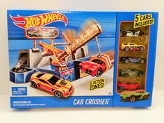New In Box - Mattel Hot Wheels City Car Crusher Playset w/ 5 Cars Included #Mattel