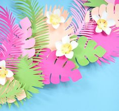 Girl Dinosaur Birthday, Flamingo Birthday, Leaf Template, Flower Template, Festa Moana Baby, Hawaiian Party Decorations, Paper Leaves, Leaf Garland, Giant Paper Flowers