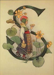 Ottilia Adelborg - Alphabet S Graffiti Alphabet, Alphabet Art, Letter Art, Calligraphy Doodles, Islamic Art Calligraphy, Images Noêl Vintages, Illumination Art, Illuminated Letters, Illuminated Manuscript