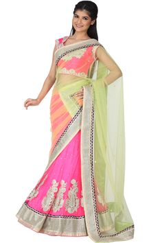 Light Lime Green and Deep Hot Pink Net Embroidered Lehenga Choli Sku Code:12-2694LL265776 US $ 595.00 http://www.sareez.com/product_info.php?products_id=116785