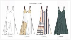 Dans cette wish-list estivale, la robe combinaison asymétrique longue tire son épingle du jeu,  dans différentes déclinaisons : minimale avec accents colorés, plus graphique en rayures bayadères, ou sensuelle  sur un satin fluide.