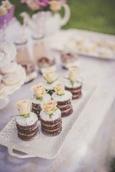 Love these adorable little naked mini cakes! made by @DolceDesigns1 #weddingdessert #weddingcake #miniweddkingcake See more here: http://mydolcedesigns.com/2014/10/shabby-chic-bridal-shower/