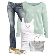 Mint Polka Dot, created by shannonmarie-94 on Polyvore