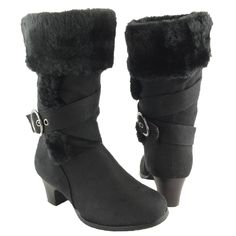 Girls' Faux Fur Collar Mid Calf High Heel Winter Suede Boots AS By ...