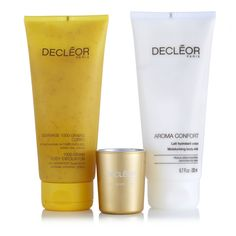 229737 - Decleor 3 Piece Me Time Spa Collection QVC Price: £36.50   Clearance Price: £29.98 + P&P: £4.95 or 2 Easy Pays of £14.99 +P&P This three-piece Me Time Spa Collection from Decleor comprises the Aroma Comfort System Corps Moisturising Body Lotion and the 1000 Grain Body Exfoliator, both accompanied by a mini candle. Treat yourself to a spot of relaxation in the comfort of your own bathroom with this papering trio from Decleor.