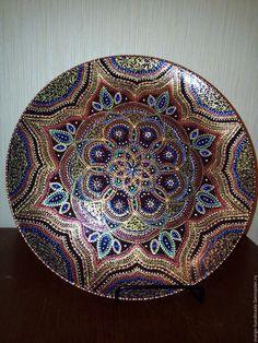 Купить Фируза - черный, восточный орнамент, подарок на любой случай, Тарелка декоративная, тарелка с росписью