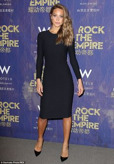 Demure: Sports Illustrated swimsuit model Hannah Davis had a rare moment on the red carpet...