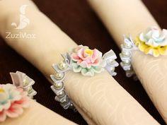 Handmade porcelain flower with glass  pearl napkin by ZuziMax